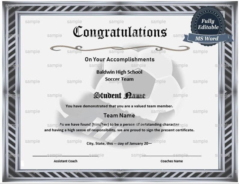 picture regarding Printable Soccer Certificate referred to as Printable Football Certification MS Phrase Template - Editable Certification Template- Fast Down load - Football Printable Award Certification