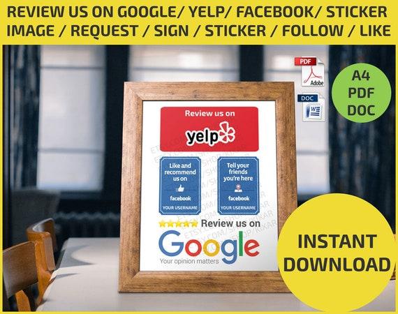 review us on google yelp facebook sticker image request etsy. Black Bedroom Furniture Sets. Home Design Ideas
