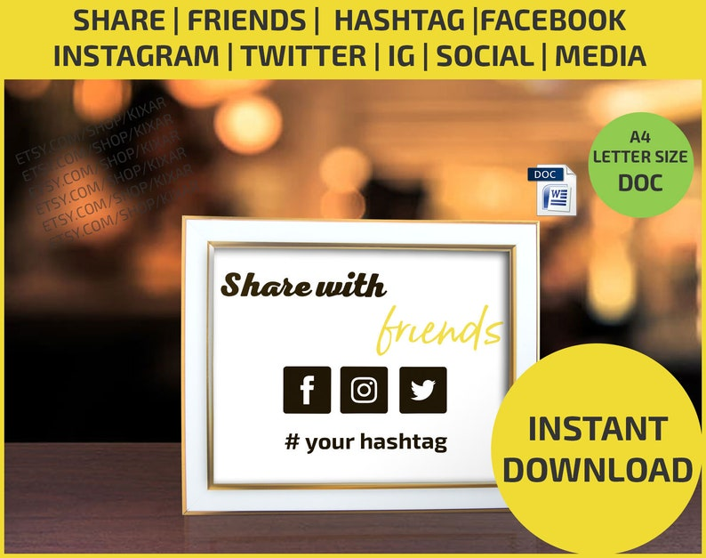 Share Us on Facebook / Social Media / Instagram/ IG / Twitter / Feedback/  Facebook / Flyer / Poster / Editable / Printable / Download