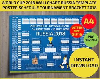 Wallchart FIFA 2018 World Cup Russia PDF / Printable/ Bracket / Mondial / Template / Calendar / Planner / Match Schedule / A4 / letter size