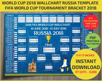 Eastern Time Zone (UTC -5) . 11*17 inches - Wallchart FIFA 2018 World Cup Russia PDF -