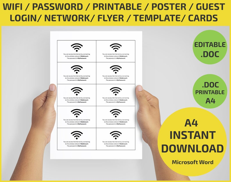 WiFi Small cards password network login / Wi-fi Sign for office / Printable  / Editable / Board / Wi Fi Guest room sign