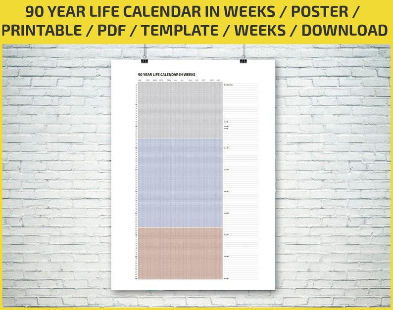 90 Year Life Calendar In Weeks Poster Printable Digital Etsy