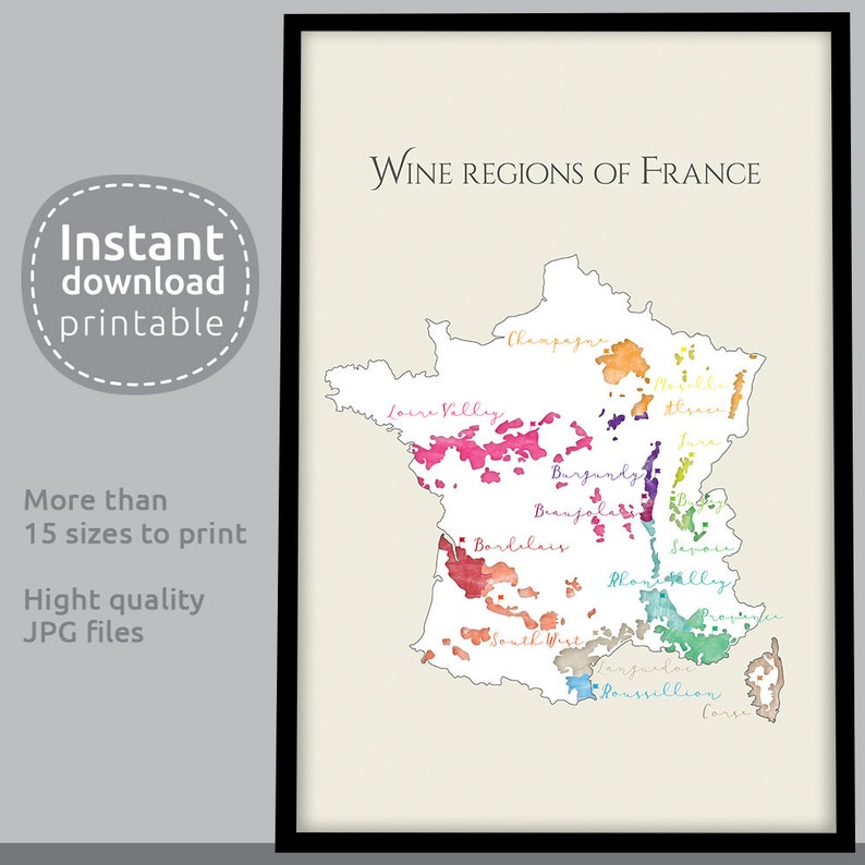 Wine Region Map Of France.French Wine Region Map Map Of France Map Of French Vineyards Watercolor Map Download Print Gifts For Wine Lovers Wine Country Gift