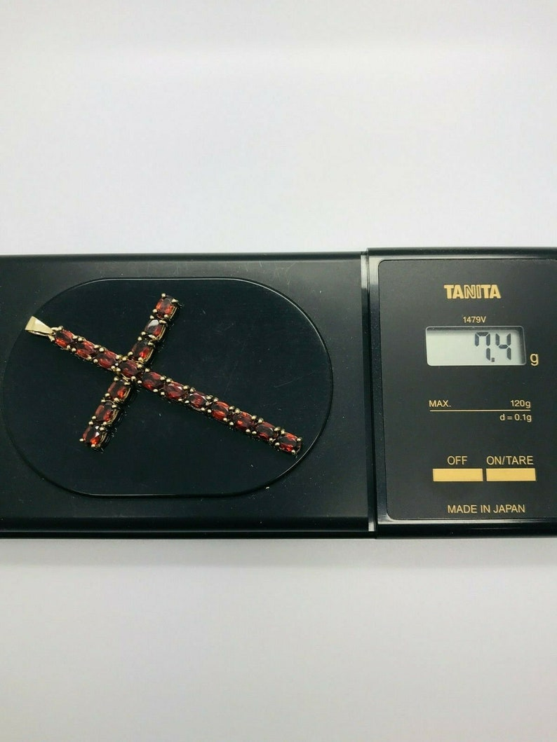 9ct Yellow Solid Gold Garnet Cross Pendant