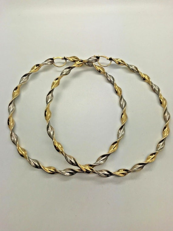 25c1e1d1960bf 9ct Yellow & White Solid Gold Extra Large Hoop Earrings