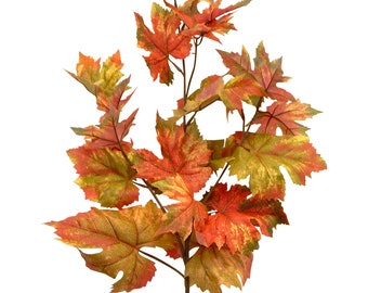 Artificial Sugar Maple Leaves Stem Branch For Fall Autumn 38 Decor Halloween