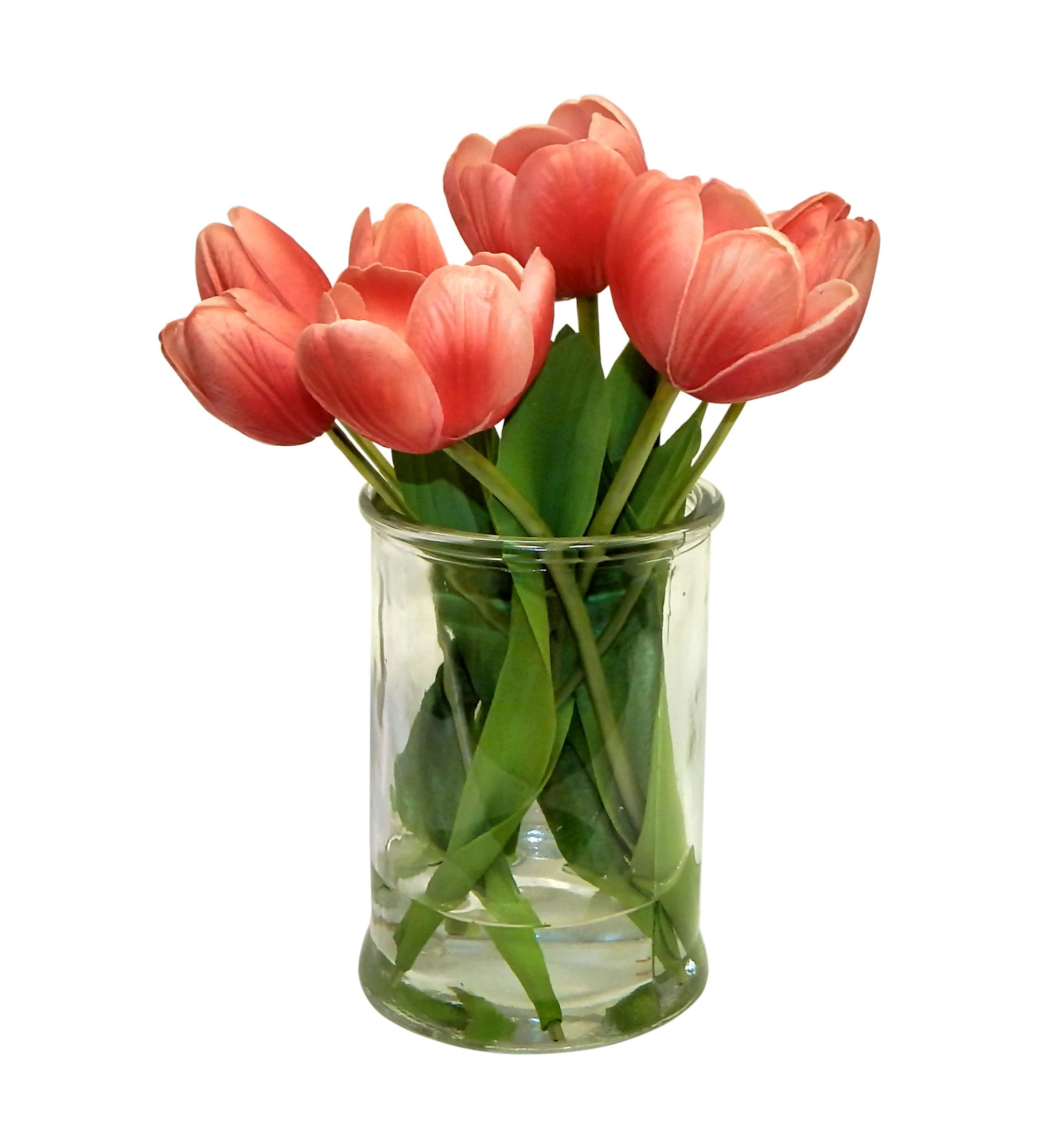 Coral Real Touch Tulip Arrangement In Glass Vase Artificial Etsy