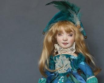 Doll handmade artist doll interior doll Blue clowness