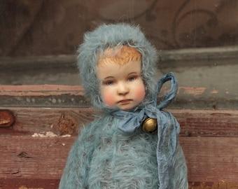 Teddy doll Nick, boy teddy doll, handmade teddy doll, vintage looking teddy doll, artist teddy doll, teddy doll, vintage face doll
