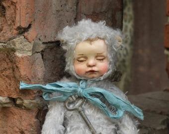 Teddy doll, vintage teddy doll, artist teddy doll, vintage doll, handmade teddy doll, artist doll, collectible doll, handmade doll