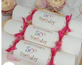 Birthday Party Crackers Any Age Personalised Cracker Favour Kit DIY Make And Fill Your Own Ie 50th