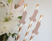 Rose Gold Hen Party Paper Straws With Glitter Shapes Diamond Ring, Penis, Hen, Lips, Butterfly, Bow, L Plate, Stiletto, Heart, Arrow, Tiara