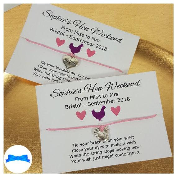 Personalised Hen Do Favour Party Bag Filler Bachelorette Gift Wish Bracelet