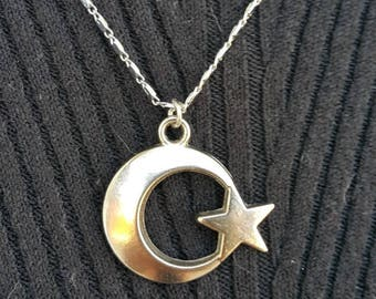 Turkish jewelry,Turkish necklace,Metalik silver moon and star pendant,Turkish flag pendant,Traditional jewelry,Unique jewely,Gift for women