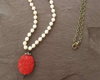 Red Cinnabar and Pearl Pendant Necklace
