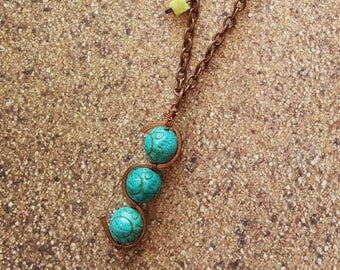 Turquoise and Brass Pendant Necklace
