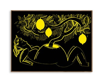 LEMONS. Illustration art. High quality print on beautiful, thick paper 40x30cm. Signed and stamped by Marta Ignerska