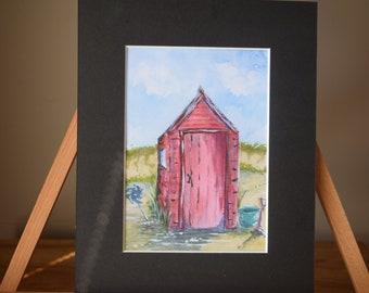 Red Beach Hut Watercolour Print
