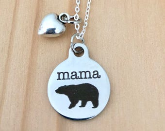 Mama Bear necklace sterling silver chain