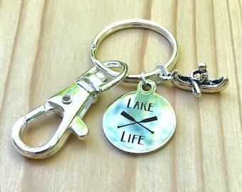 Lake life paddler keychain