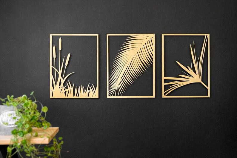 998275fa3e Modern wall art Set of 3 wall hanging gold metal wall art | Etsy