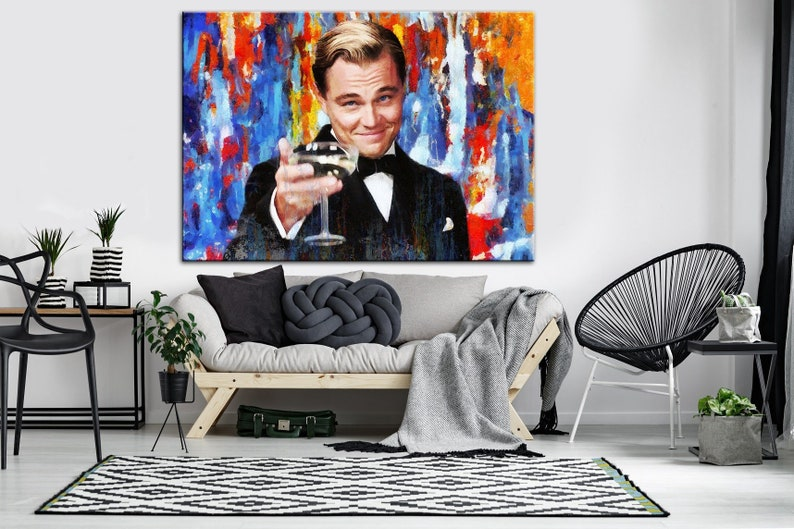 Leonardo Dicaprio Poster The Great Gatsby Print Dicaprio Canvas Art Multi Panel Dicaprio Art Large Wall Art Gift For Him Home Decor