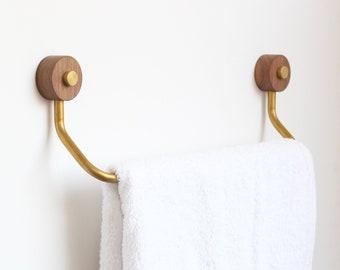 Wood towel bar Reclaimed Wood Brass And Walnut Wood Towel Bar Etsy Wood Towel Bar Etsy