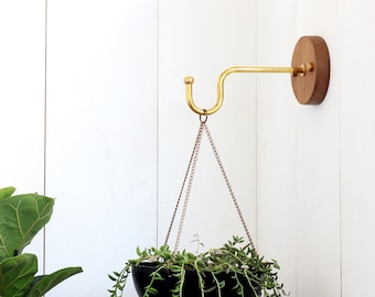 Wall hook for hanging planter indoor or outdoor. Solid brass and wood Wall planter hook. Modern planter hanger. Wall plant holder.