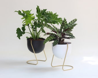 Plant stand with drainage, Midcentury modern floor planter design, Brass boho planter