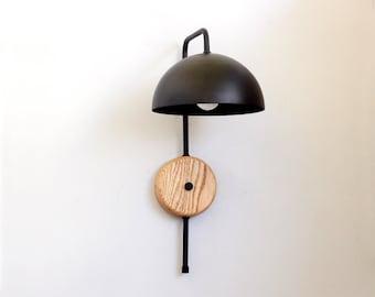 Wand Leicht Inspiriert Von Mid Century Modern Stil, Holz Und Schwarz  Wandleuchte, Wandleuchte, Designer Lampe.