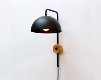 Plug in wall lamp etsy plug in wall light wood and black sconce wooden wall lamp wall lighting aloadofball Gallery
