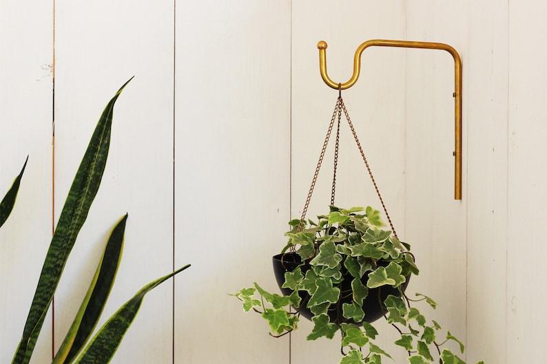 Planter Hanger Minimalist Plant bracket Brass Wall hook image 0
