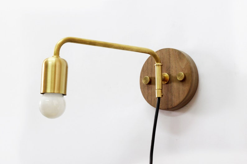 competitive price b7fe8 aa8eb Brass plug in sconce, Adjustable bedroom light, Wooden swing arm lamp,  Brass and wood, Mid century modern style design.