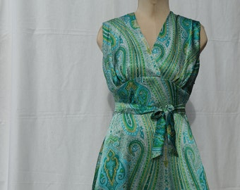 GINGER: 1940s inspired dress with paisley-pattern in 100% silk