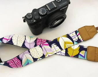 Designer Midnight Feather camera strap genuine leather ends for DSLR , mirrorless