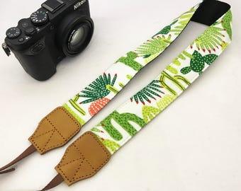 Designer cacti camera strap genuine leather ends for DSLR , mirrorless