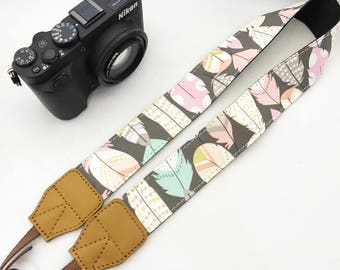 Designer Feather coins camera strap genuine leather ends  for DSLR , mirrorless