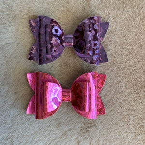 faux leather girly accessory Embossed Faux Leather double layer Dahlia hair bow 100/% wool felt hair bow glitter