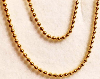 1.0 mm Length 14K Solid Yellow Gold Bead Chain Width 18 inches 80