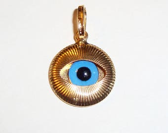 Solid gold evil eye etsy 18k solid yellow gold evil eye protective pendant075inch aloadofball Gallery