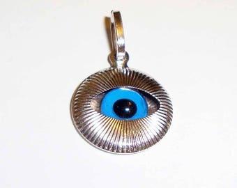 White gold evil eye etsy 18k solid white gold evil eye pendant075inch aloadofball Gallery