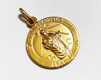 Judas For Hope In Desperation Our Catholic Prayers Patron Of Impossible Causes 18K Yellow St Jude Thaddeus 3D Design Pendant