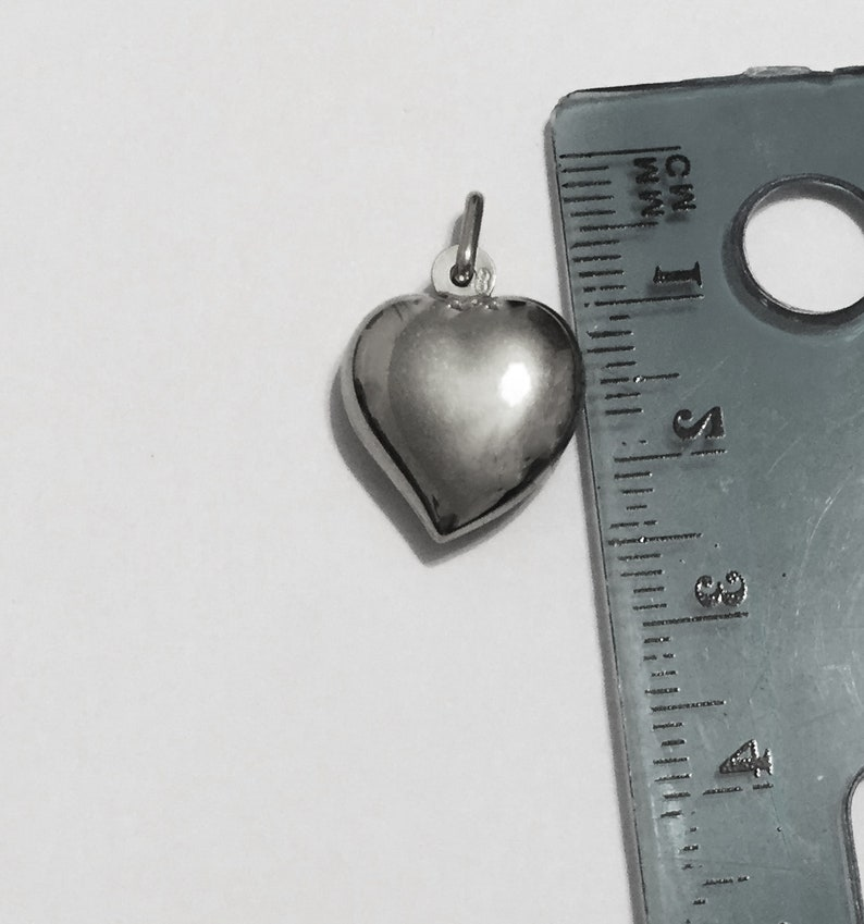 puffed heart pendant 14k solid white gold 1inch