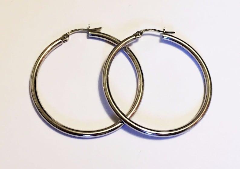 1.40inch2mm thick 18k solid white gold Italian tube hoop earrings