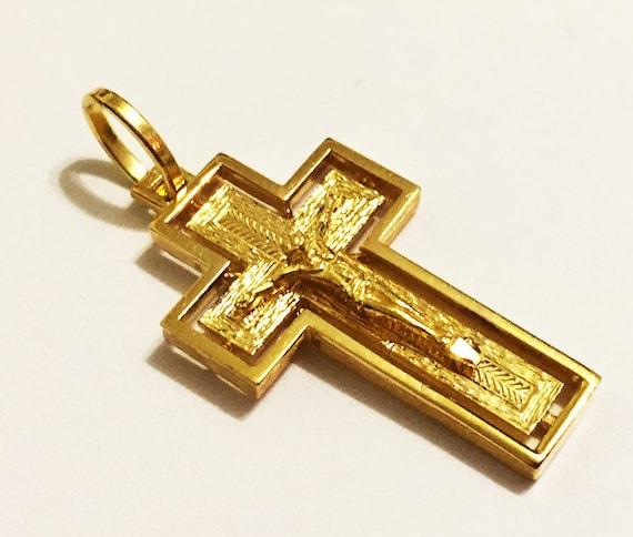 14k solid yellow gold 1.50inch swirly design cross