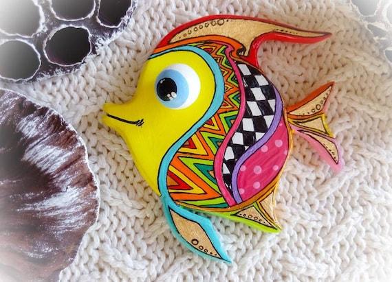 Talavera Pottery Tropical Fish Wall Art In Mexico Folk Art Etsy