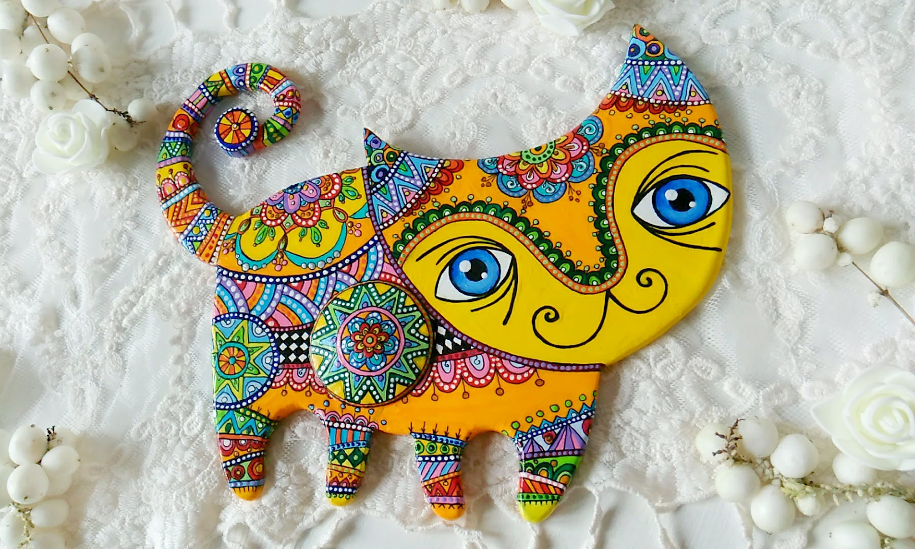 Cat artwork in Talavera pottery mexican folk art style. Bright | Etsy