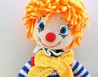 ETSY BIRTHDAY SALE - Circus Clown doll Art doll Circus decor Plush Clown decor Rainbow toy Big toy Unique doll Stuffed Clown toy Crochet toy