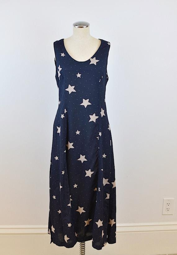 1990's Vintage Star Print Dress Maxi Dress with Si